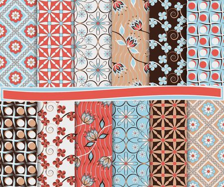 astratto floral vector set di carta per scrapbook