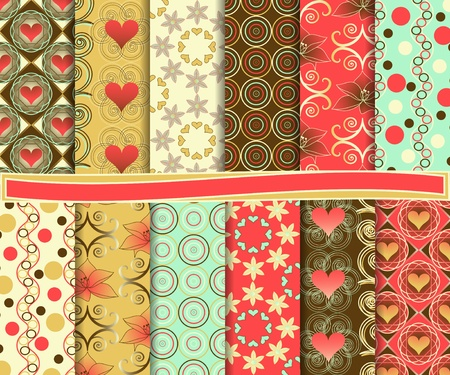 Abstract vector set of paper for scrapbook Valentine's Day Stock Vector - 18809229