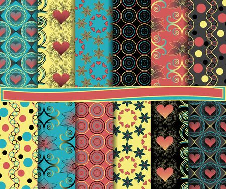 Abstract vector set of paper for scrapbook Valentines Day Vector