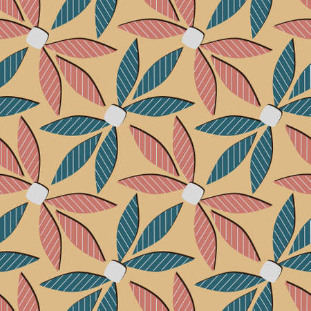 abstract seamless pattern with stylized leaves Vector