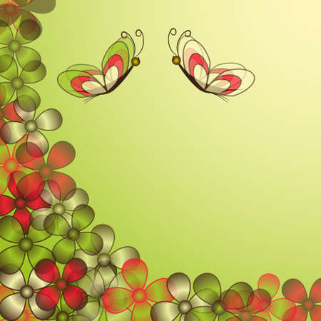 abstract floral illustration with butterflies Vector