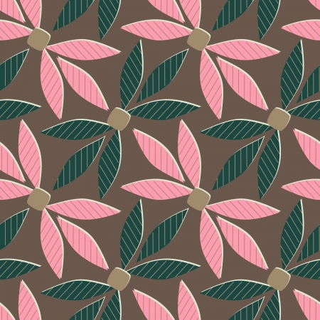 seamless abstract illustration with stylized leaves Vector