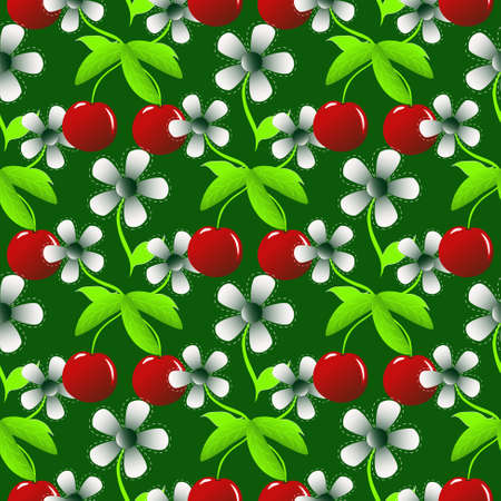 abstract vector illustration with flowers and cherry Vector