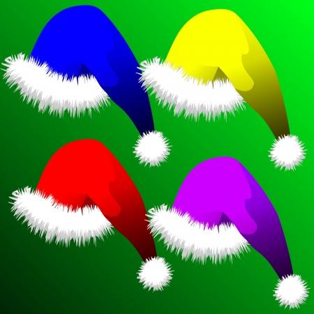 fur cap: vector illustration - set of Christmas hats