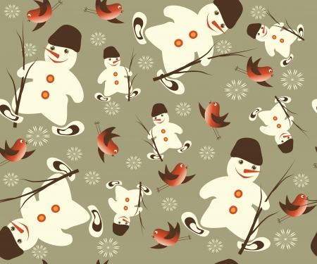 Christmas vector seamless with snowman Vector