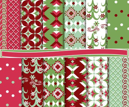 Abstract vector set of Christmas paper for scrapbook Stock Vector - 22787950