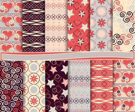 Abstract vector set of scrapbook paper with Valentines Day Vector
