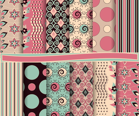with sets of elements: Abstract vector set of scrapbook paper
