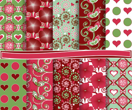 Abstract vector set of paper for scrapbook Valentine Vector