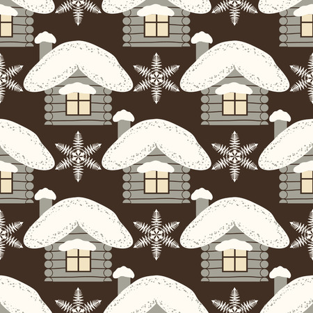 Seamless abstract Christmas background illustration with houses