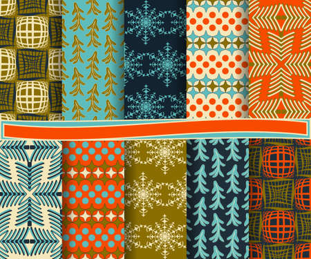 set of abstract vector Christmas paper for scrapbook Ilustrace