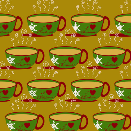 evaporation: Christmas abstract vector background with a cup of hot drink Illustration
