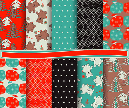 set of abstract Christmas vector paper for scrapbook Vector
