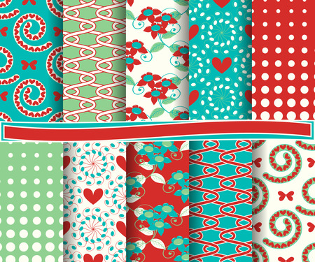 set of  vector abstract Valentines Day paper for scrapbook Vector
