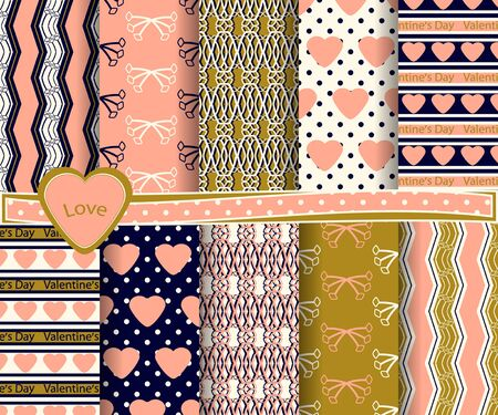 set of  vector abstract Valentines Day paper for scrapbook