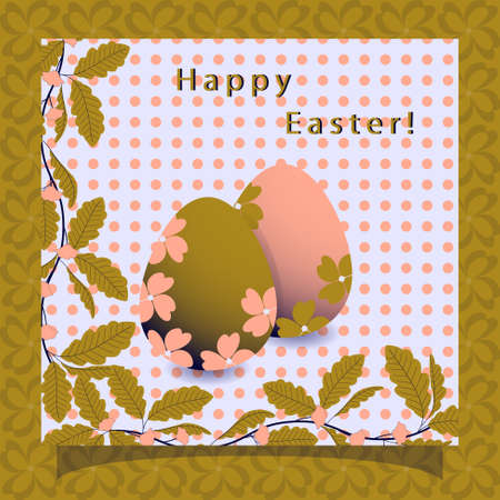 twigs: Greeting card Happy Easter. Abstract vector illustration