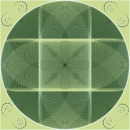guilloche: Circular pattern with guilloche elements. Abstract vector illustration