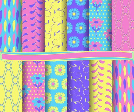 intersecting: set of  abstract vector paper for scrapbook Illustration
