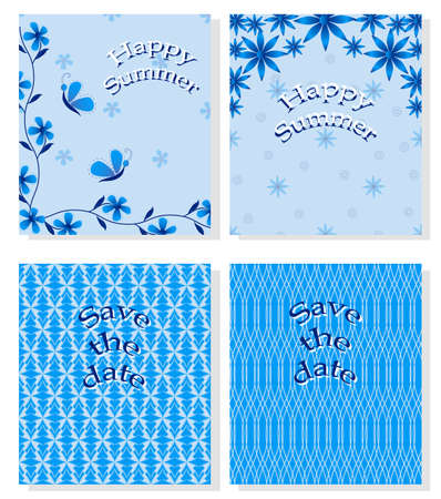 WISHES: set of abstract vector cards with wishes Illustration