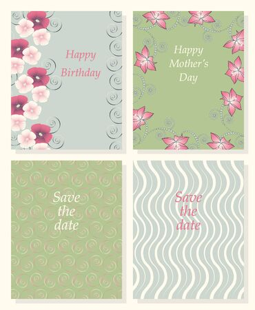 wishes: Set of vector templates for invitations, wishes, save the date