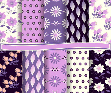 decoratively: set of  abstract floral vector paper for scrapbook