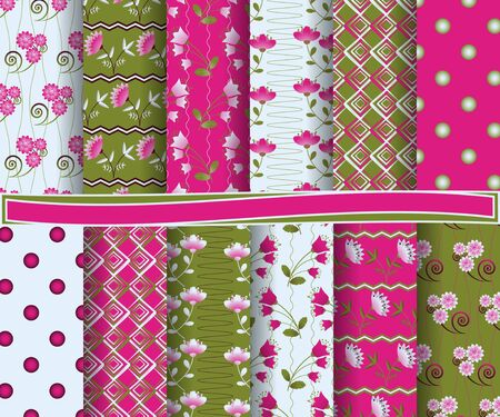 flowers background: set of  abstract  floral vector paper for scrapbook