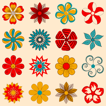 retro floral: vector set of abstract decorative flowers for decoration and design