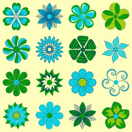 icon collection: vector set of abstract decorative flowers for decoration and design