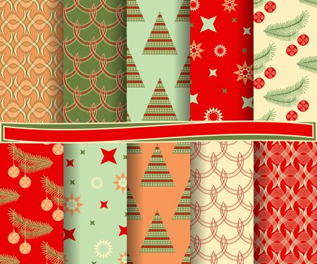 set of Christmas abstract vector paper with decorative shapes and design elements for scrapbook