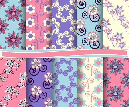 decoratively: set of abstract vector paper with decorative shapes, flowers, and design elements for scrapbook Illustration