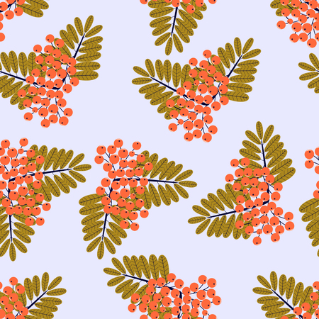 mountain ash: Ornamental leaves and berries of mountain ash. Seamless abstract vector illustration