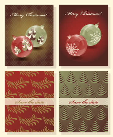 Set Of Christmas Abstract Vector Template Save The Date Royalty - Christmas save the date template