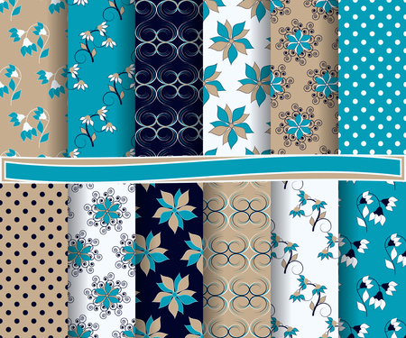 polka dot wallpaper: set of abstract vector paper with decorative flowers and design elements for scrapbook