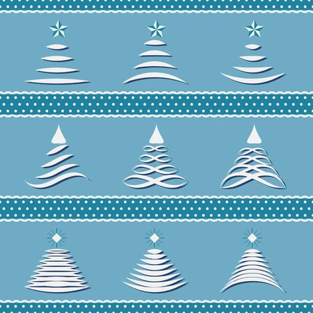 frill: vector set of abstract Christmas trees