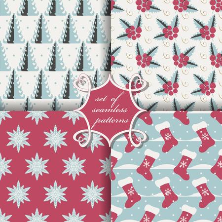 snowbanks: set of Christmas seamless vector illustration. Christmas symbols, patterns