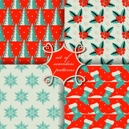 snowbanks: set of Christmas seamless vector illustration. Christmas symbols, patterns