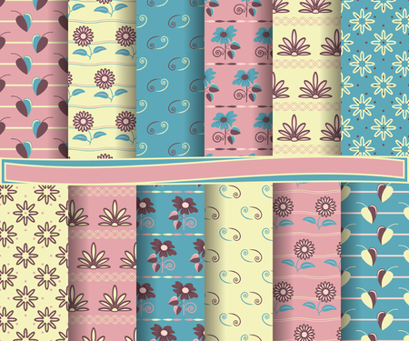 scrapbook: set of abstract vector paper with floral patterns and decorative elements for scrapbook