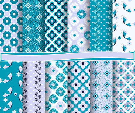 decoratively: set of abstract vector paper with floral patterns and decorative elements for scrapbook