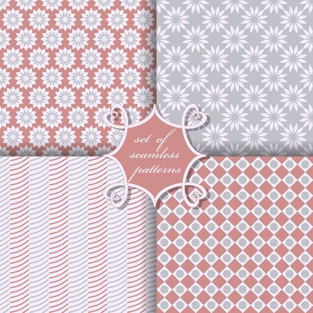 background design: Set of seamless vector illustrations. Abstract shapes and decorative flowers