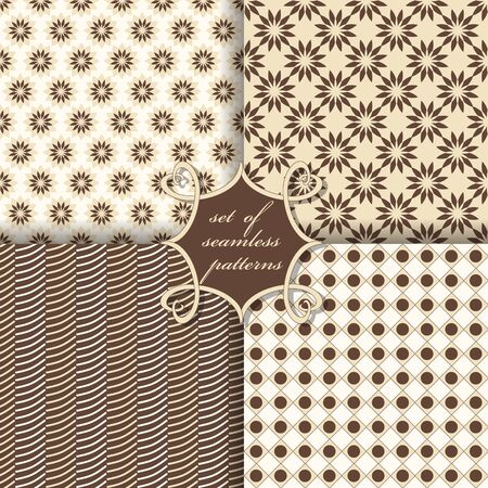 wallpaper dot: Set of seamless vector illustrations. Abstract shapes and decorative flowers