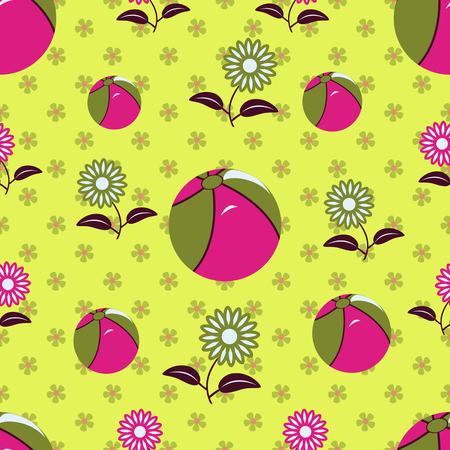 card making: Seamless vector illustration. Decorative flowers, balls