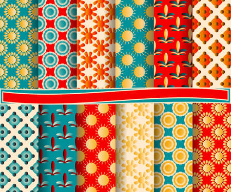 decoratively: set of abstract paper with decorative shapes and design elements for scrapbook Illustration