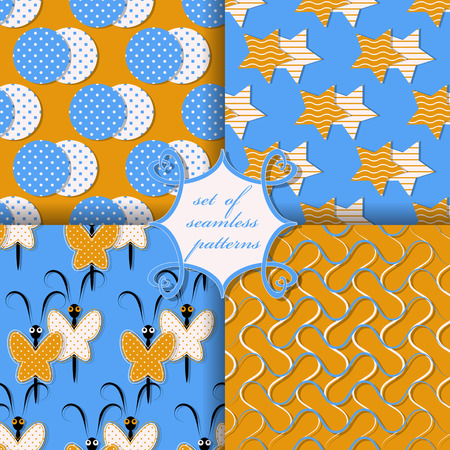 wavy lines: Set of seamless vector illustrations. Geometric shapes, decorative butterflies, wavy lines pattern
