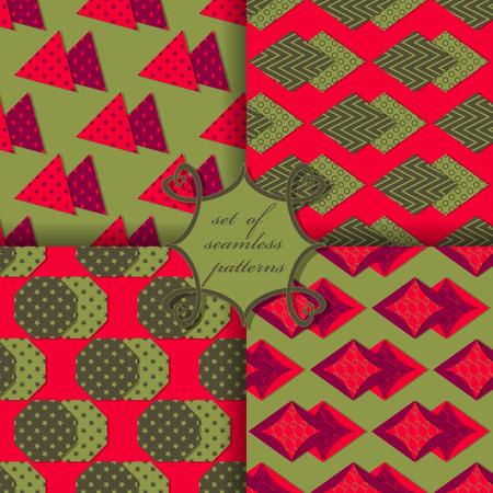 Set of seamless vector illustrations. Geometric shapes pattern