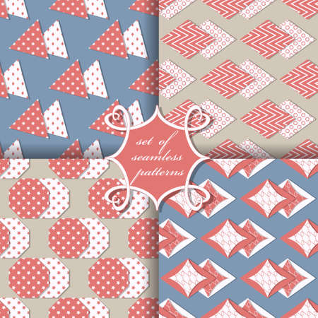 decoratively: Set of seamless vector illustrations. Geometric shapes pattern
