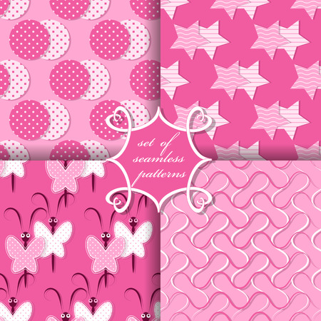 Set of seamless vector illustrations. Geometric shapes, decorative butterflies, wavy lines pattern