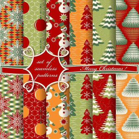 set of Christmas seamless vector illustration. Christmas symbols,Christmas patterns