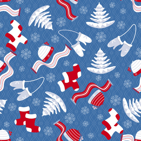 winter clothing: seamless Christmas vector illustration with winter clothing Illustration