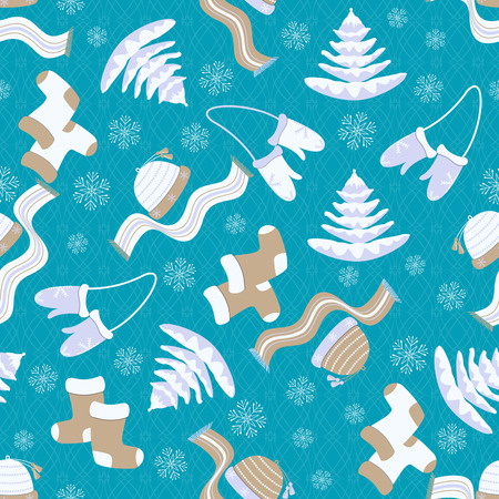seamless Christmas vector illustration with winter clothing Illustration