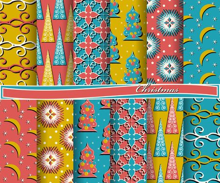 color of year: set of Christmas abstract vector paper with decorative shapes and design elements for scrapbook